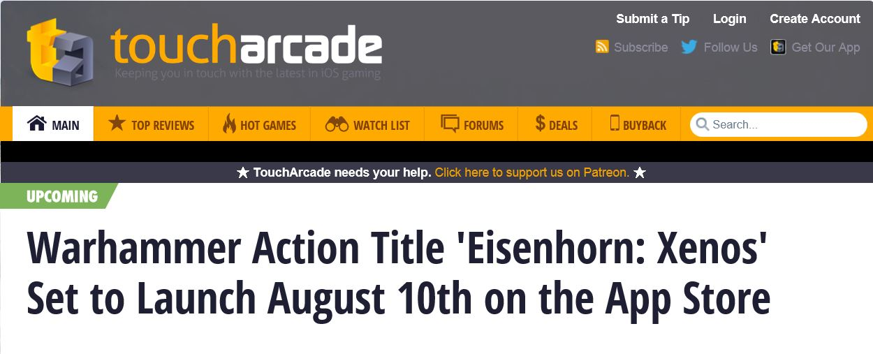 Eisenhorn: XENOS will launch on August 10th!